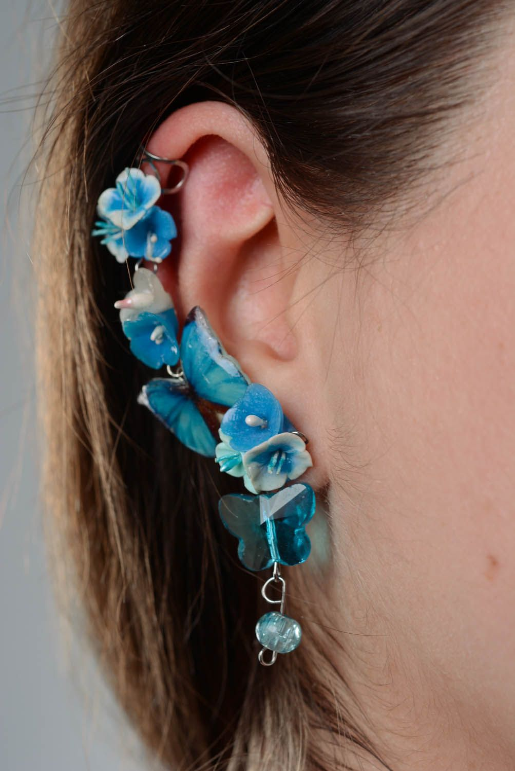 Polymer clay cuff earrings Wanderer photo 3