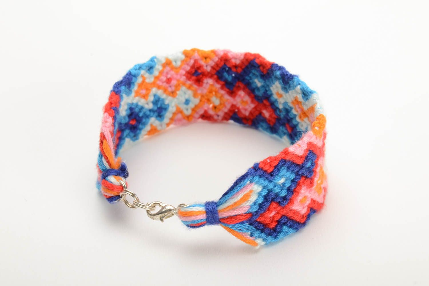 Multicolored beautiful handmade wide woven embroidery floss bracelet photo 3