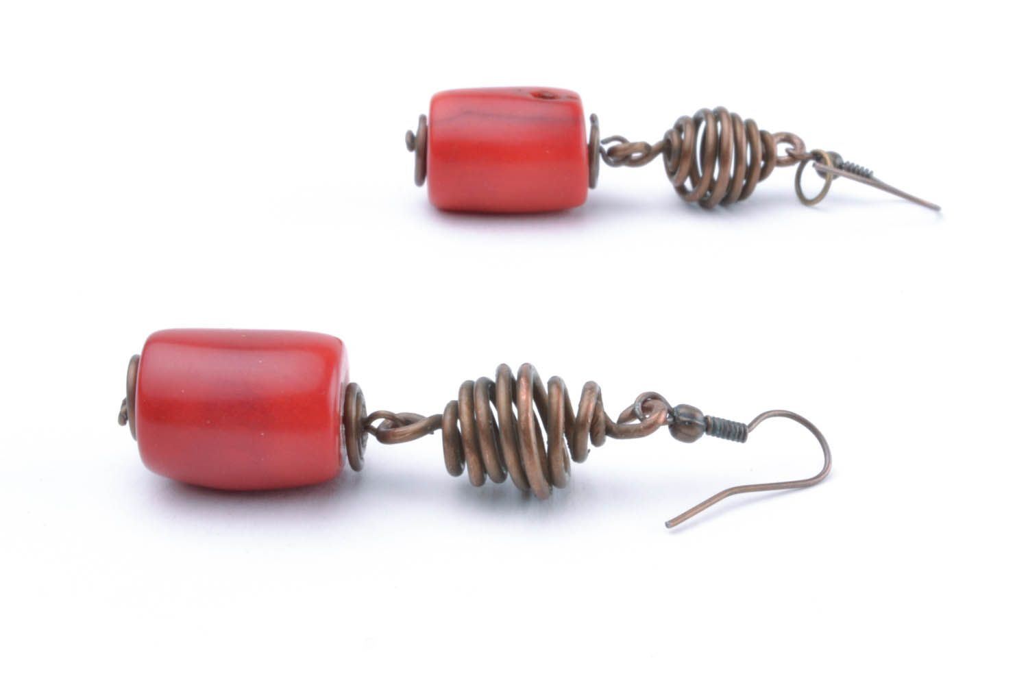 Copper earrings with coral stones photo 3