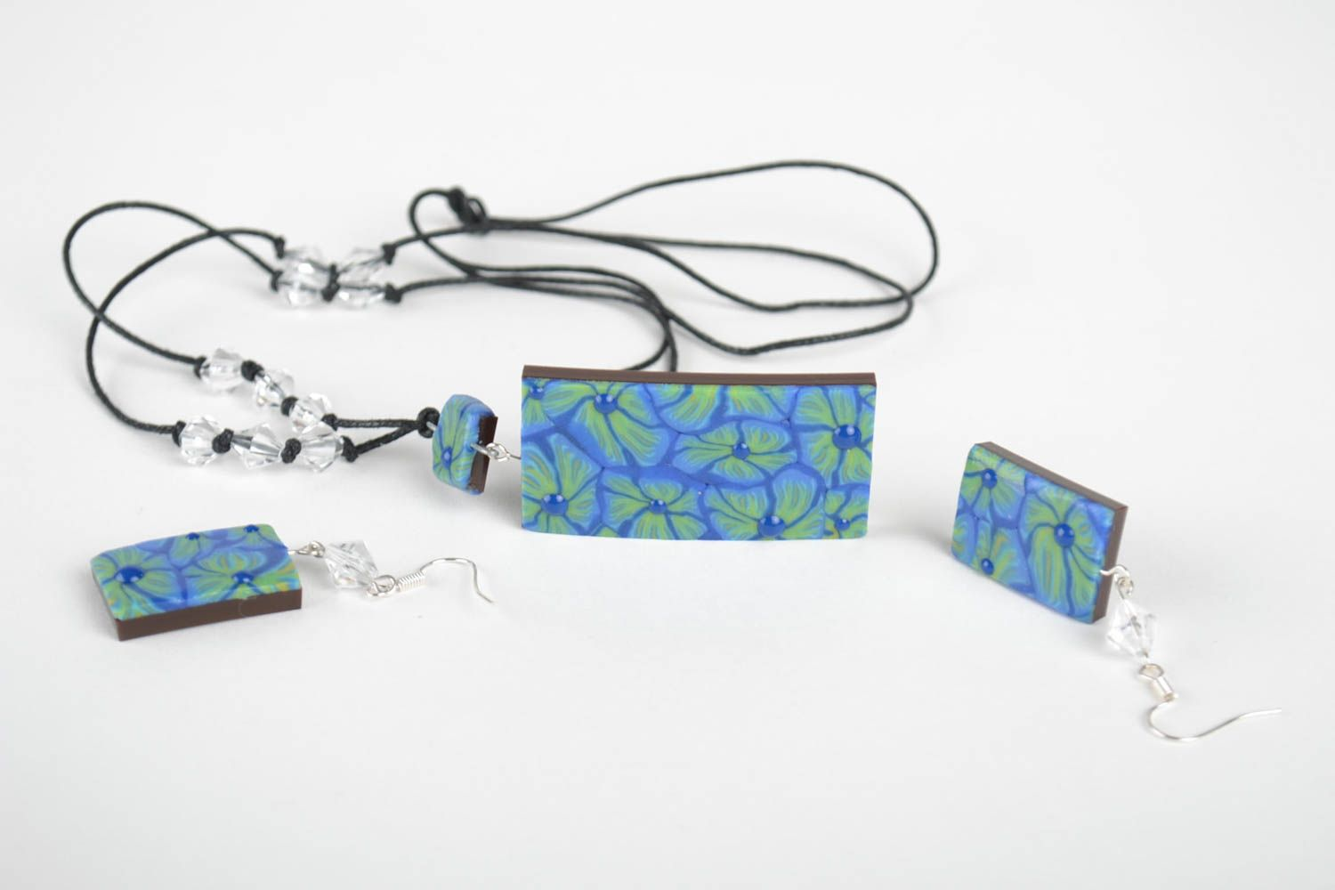 Handmade set of polymer clay jewelry unique designer accessories for woman photo 3