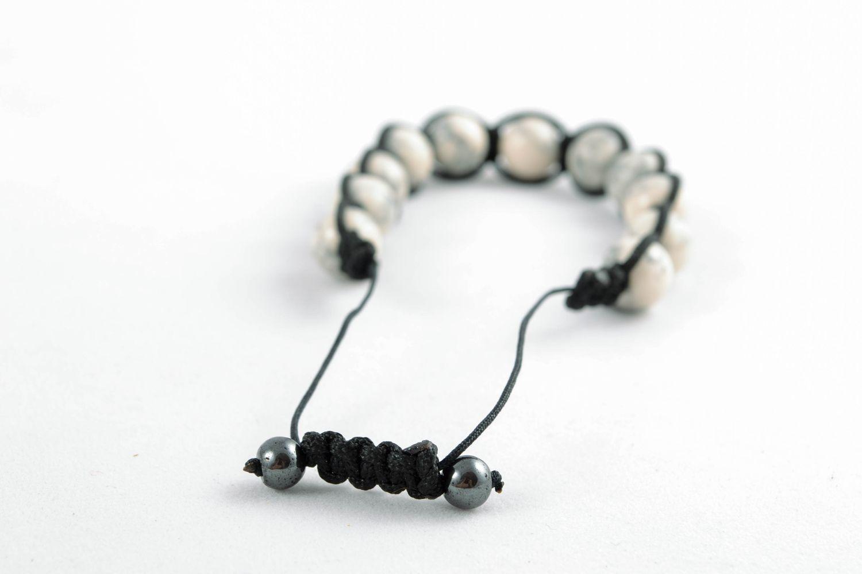Handmade Armband aus Glasperlen Schwarz weiß foto 3