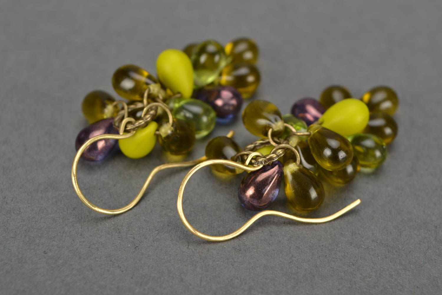 Handmade designer glass bead earrings in green color palette Bunches photo 3