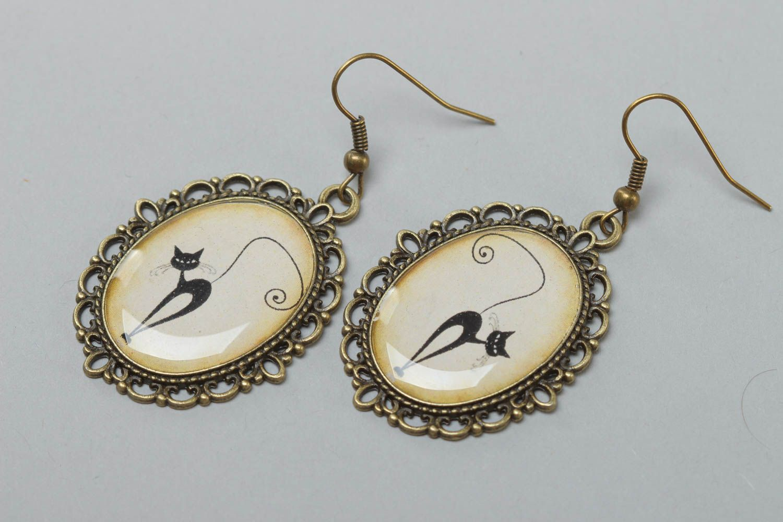 Beautiful handmade earrings made of glass glaze vintage style accessory photo 2