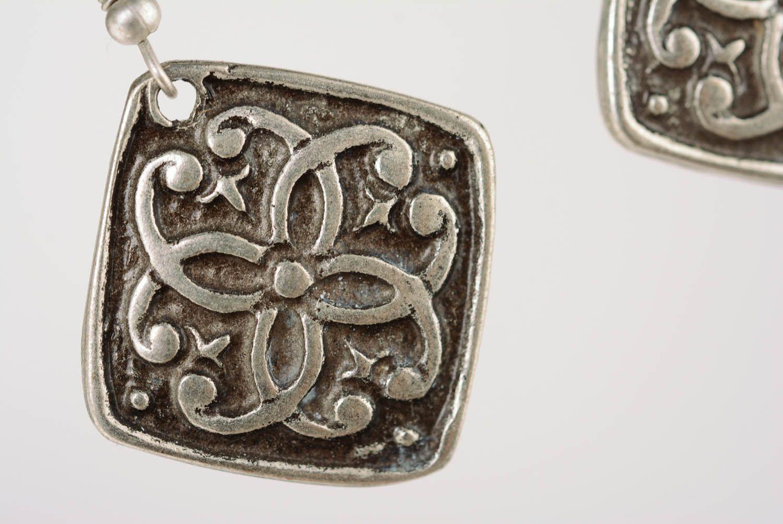 Handmade metal pendant earrings  photo 2