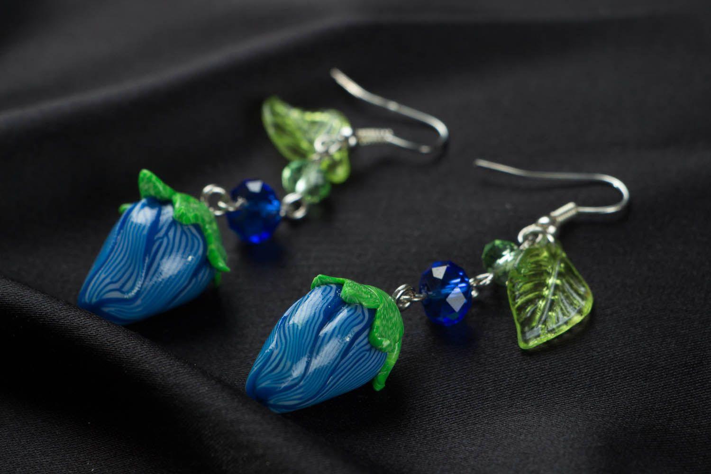 Polymer clay dangling earrings photo 2