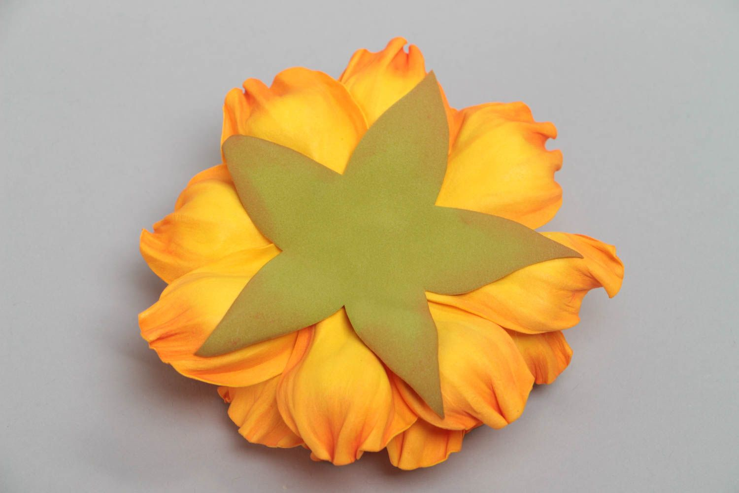 Yellow handmade designer textile foamiran flower for brooch or hair clip making photo 4