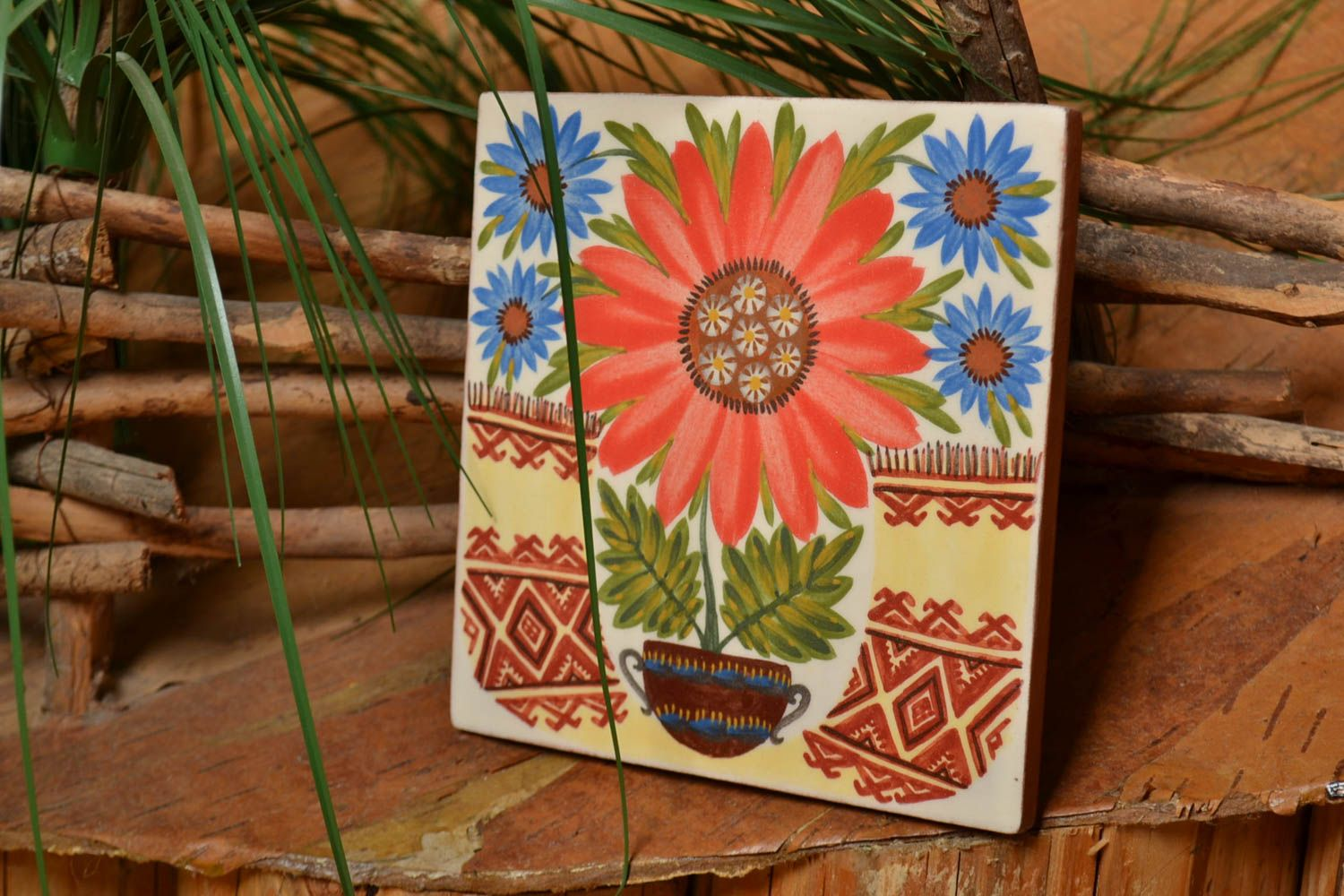 Square handmade wall tile with flowers made of clay colorful interior wall panel photo 1