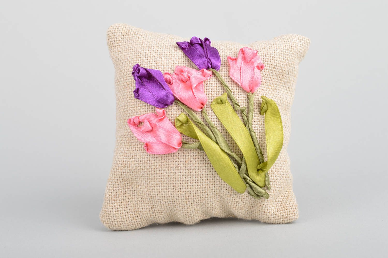 Handmade decorative fabric sachet pillow with satin ribbon embroidery for decor photo 2
