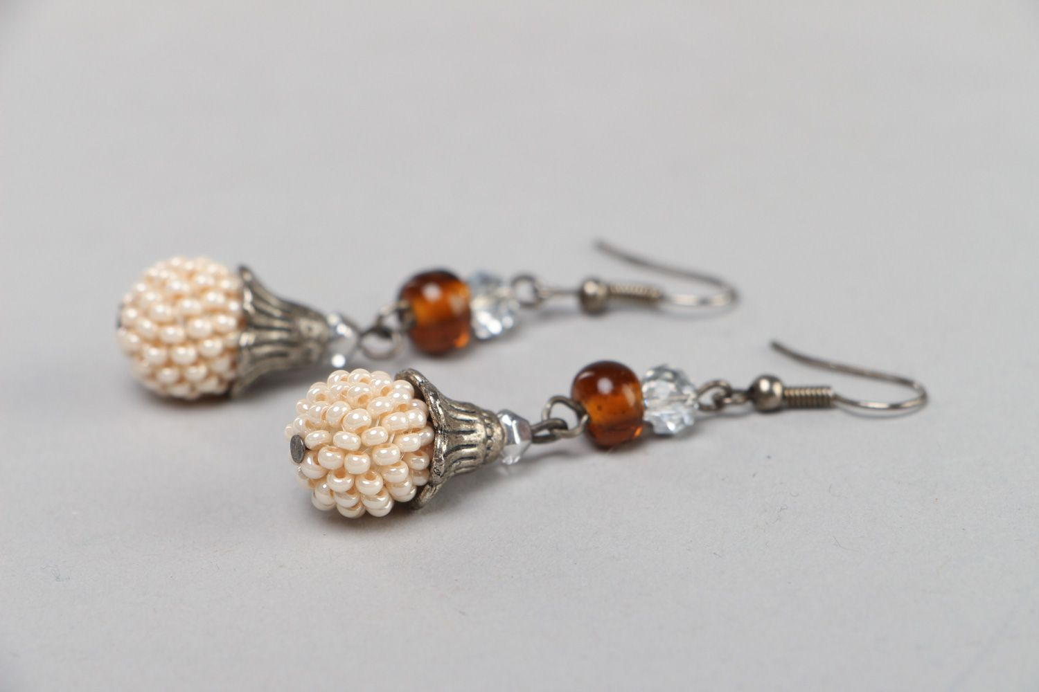 Handmade festive dangle earrings with Czech and glass beads in light color palette photo 2