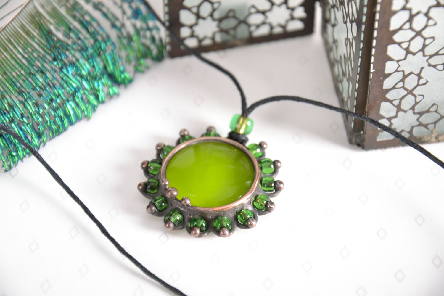 Stained-glass pendant Olive photo 1