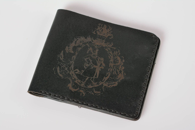 61ce383e170 porte-monnaie Portefeuille en cuir fait main noir Maroquinerie design Cadeau  pour homme - MADEheart