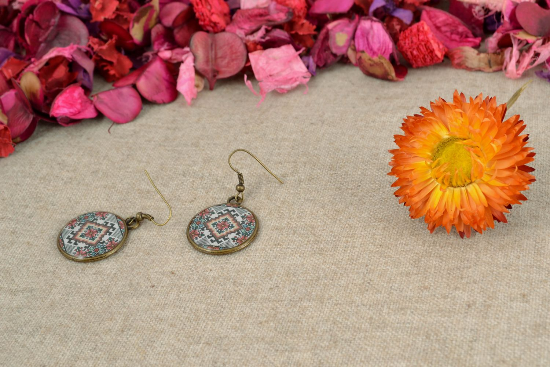 Round decoupage epoxy earrings photo 1