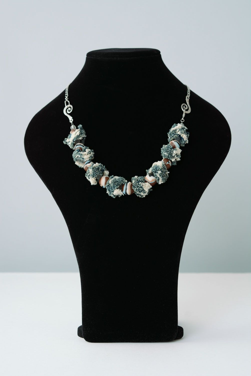 Necklace made of polymer clay Denim photo 1