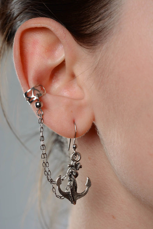 Metal cuff earrings Anchor photo 3