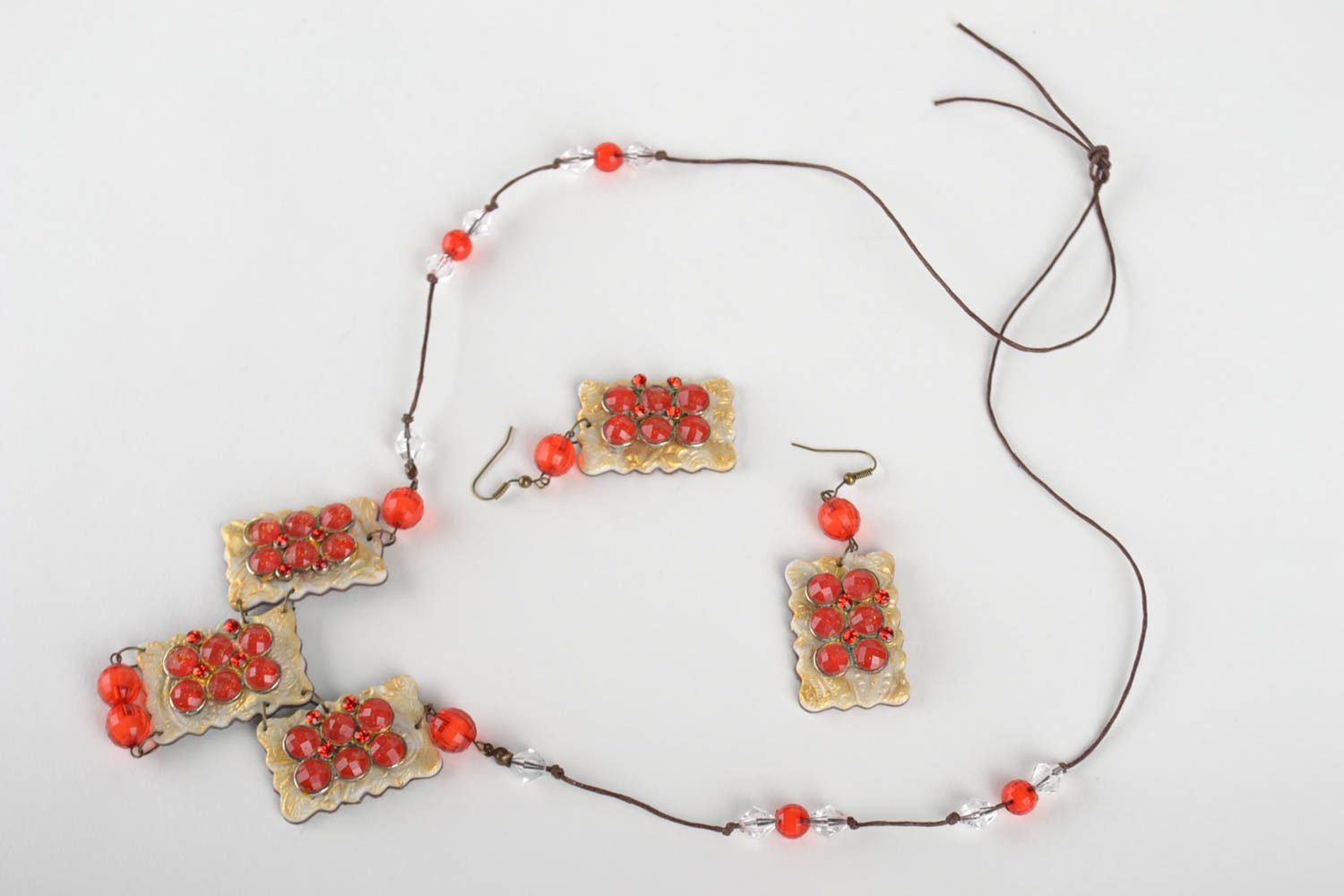 Polymer clay jewelry set handmade earrings pendant necklace fashion accessories photo 2