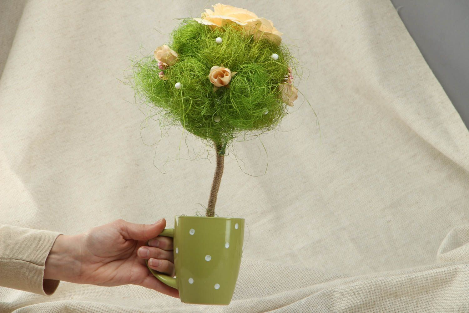 Handmade green topiary in cup photo 4
