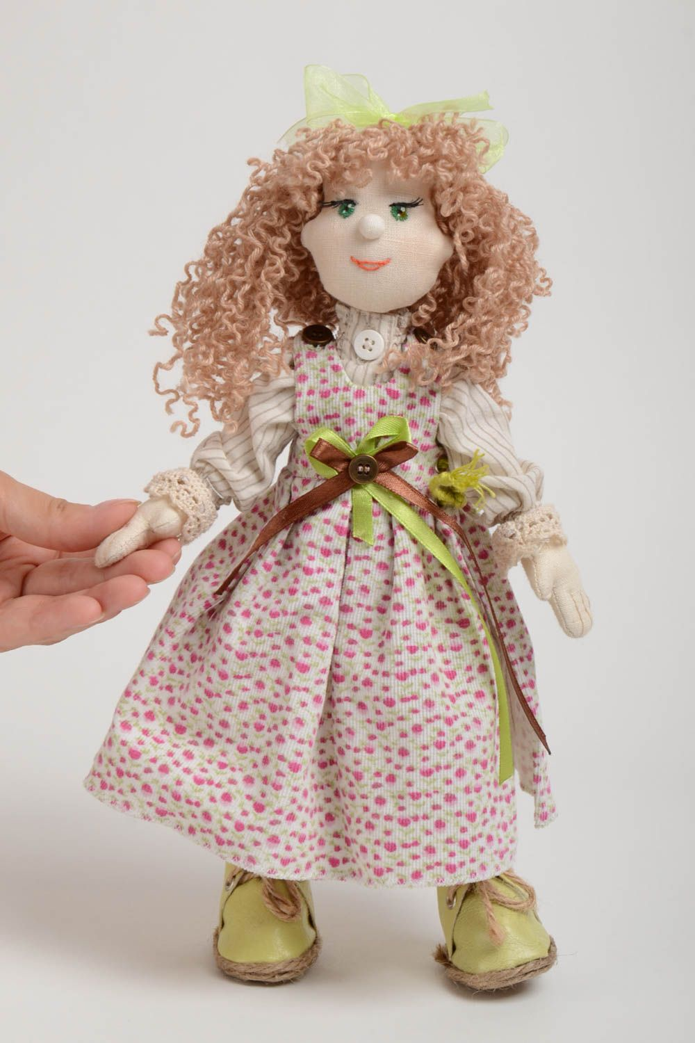 Designer fabric doll made of natural materials with movable limbs home decor photo 5