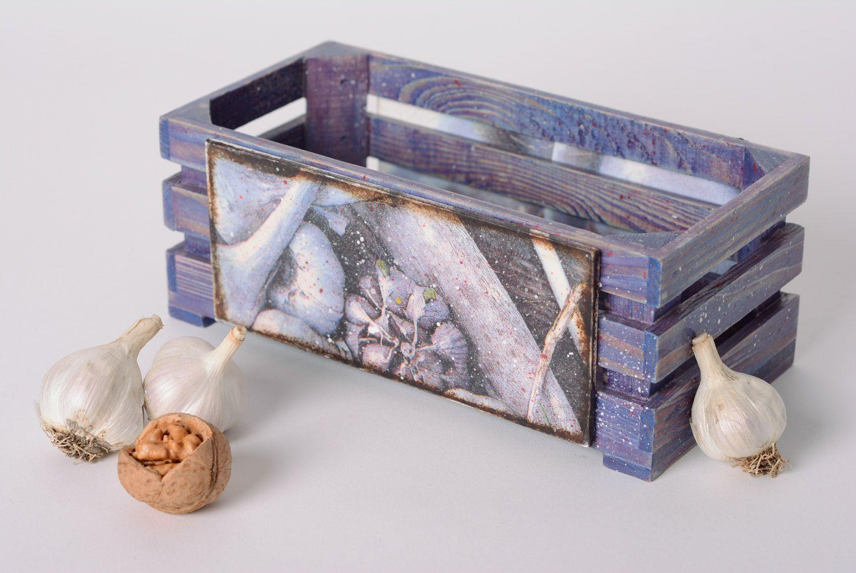 madeheart handmade decoupage holzkiste f r gew rze und gem se klein lila f r k che. Black Bedroom Furniture Sets. Home Design Ideas