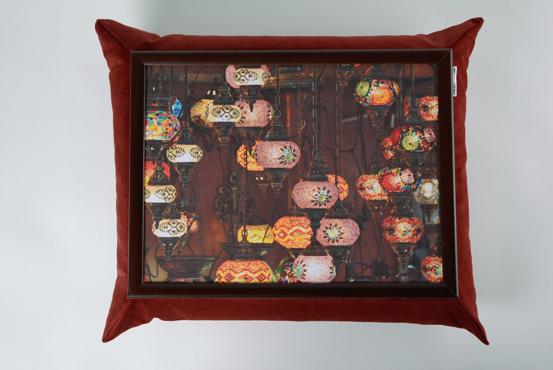 Brown handmade interior tray cushion made of velvet and acrylic fabrics photo 3