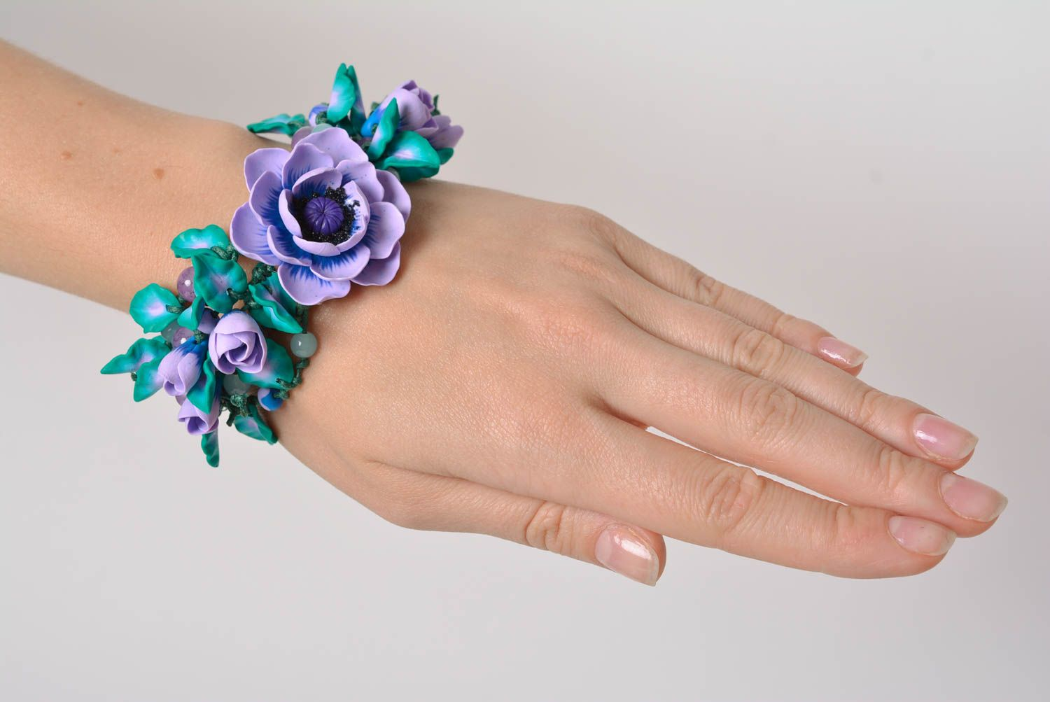 polymer clay bracelets Handmade designer wrist bracelet with blue volume polymer clay flowers - MADEheart.com