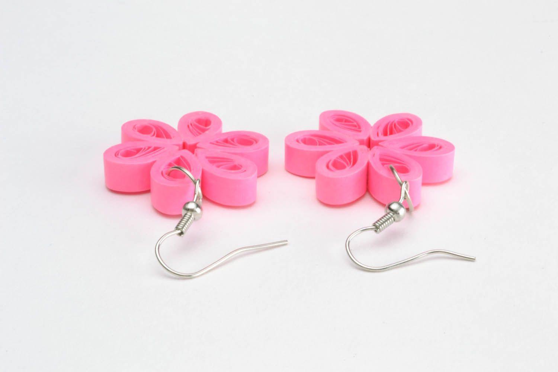 Flower-shaped paper earrings photo 3