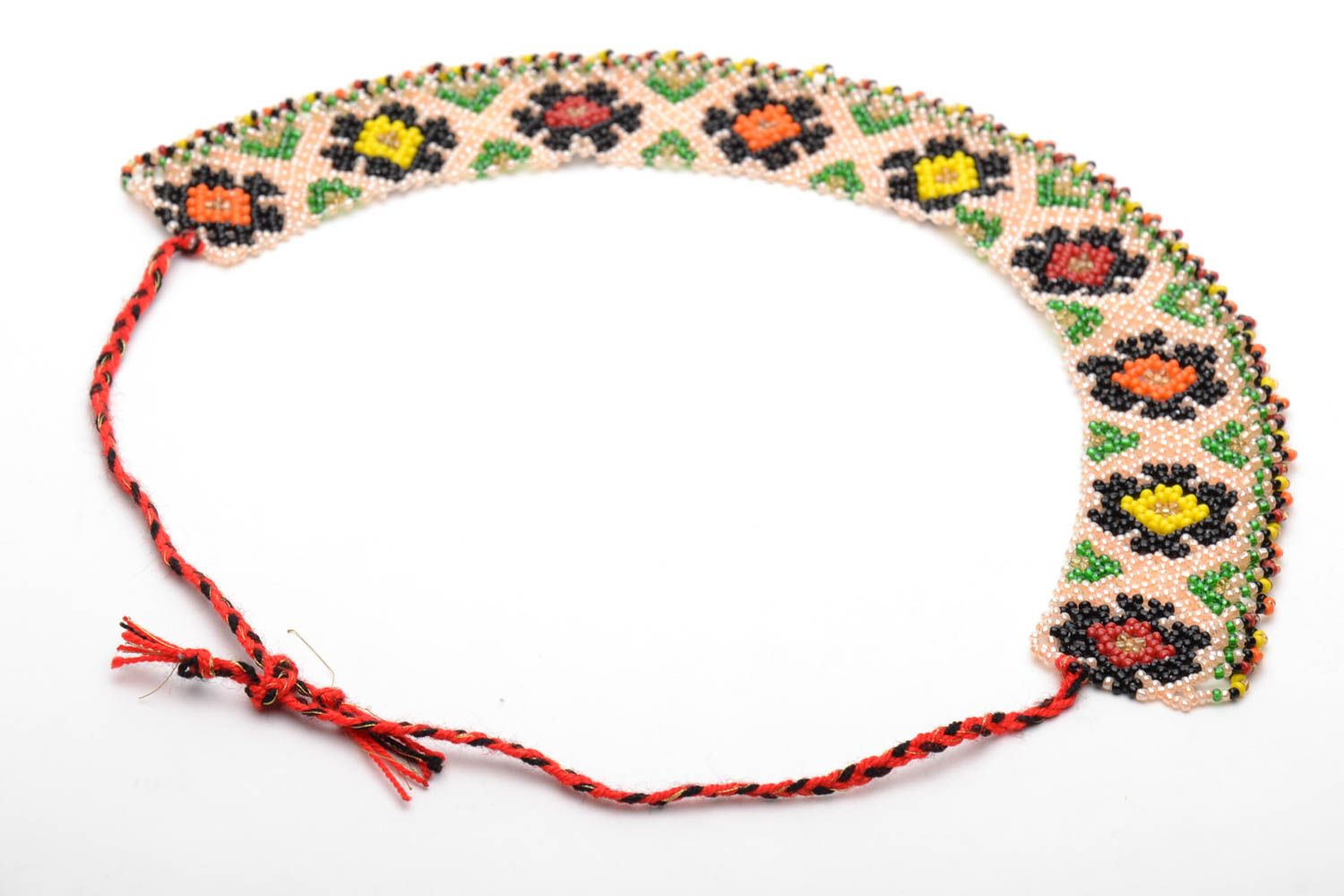 Wide beaded necklace in ethnic style photo 5