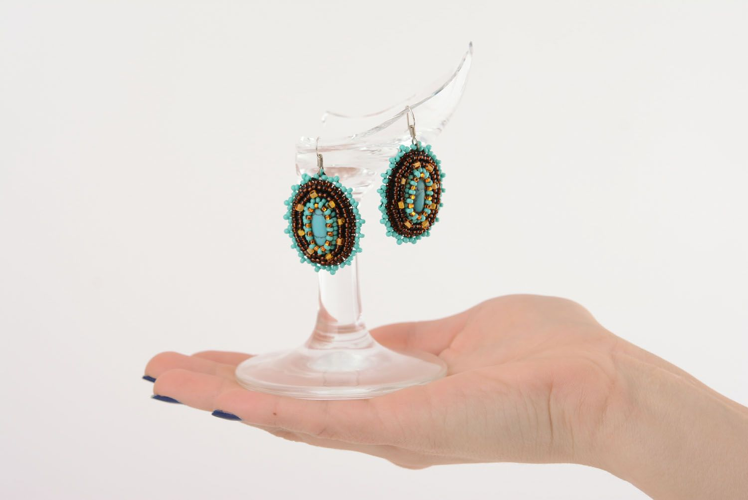 Earrings with charms Chocolate and Turquoise photo 5