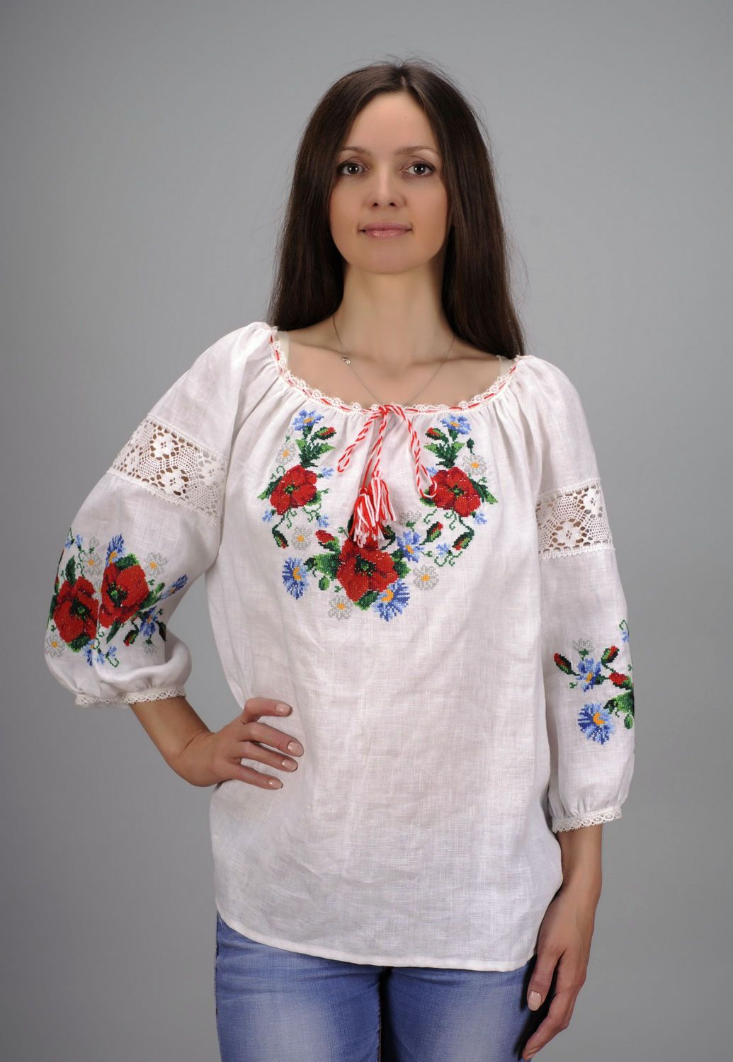 Linen embroidered shirt photo 2