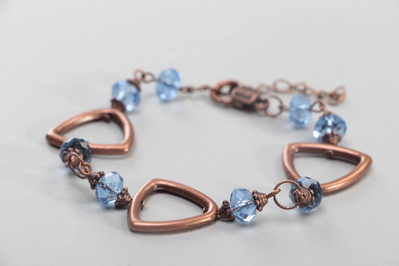 Handmade female bracelet wrist beaded accessory unusual stylish jewelry photo 1