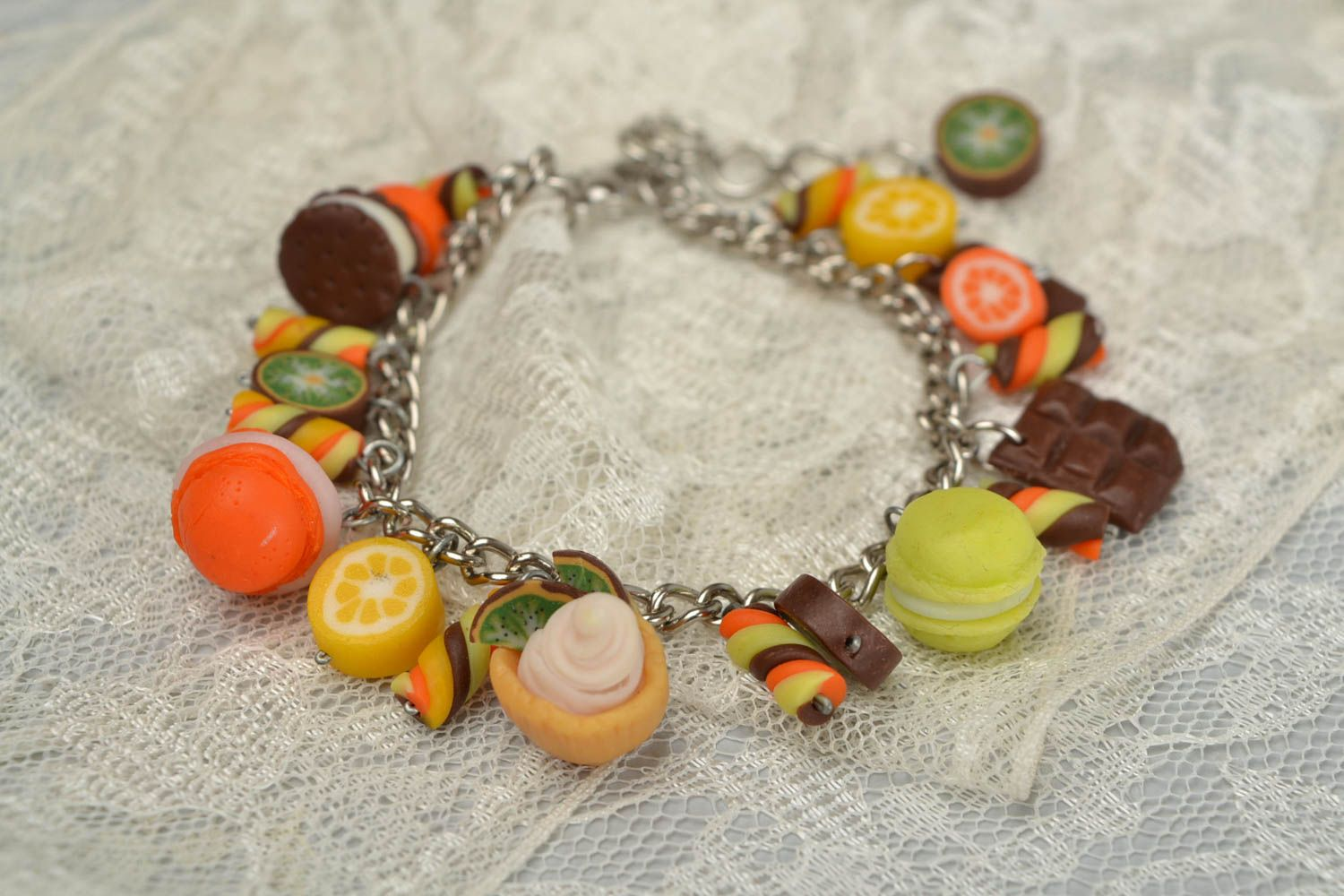 Handmade metal chain wrist bracelet with polymer clay charms Candies for women photo 1