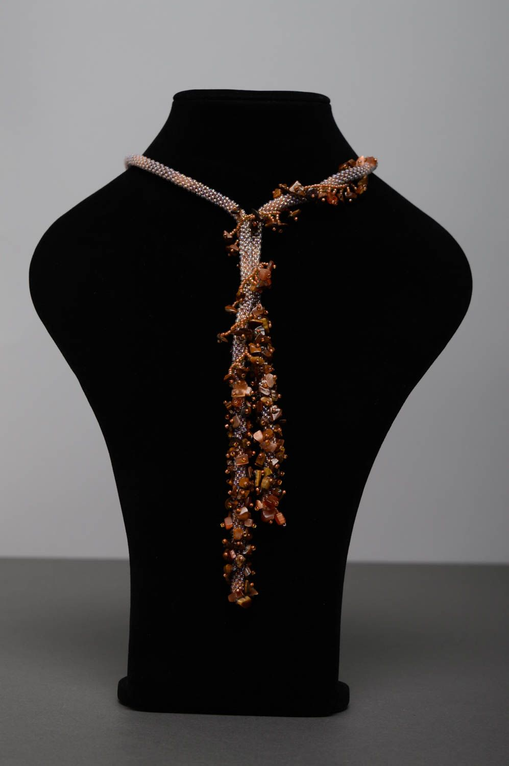 Beaded lariat necklace with tiger's eye stone photo 3