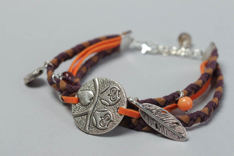 Handmade festive bracelet leather unusual accessory beautiful wrist jewelry photo 3