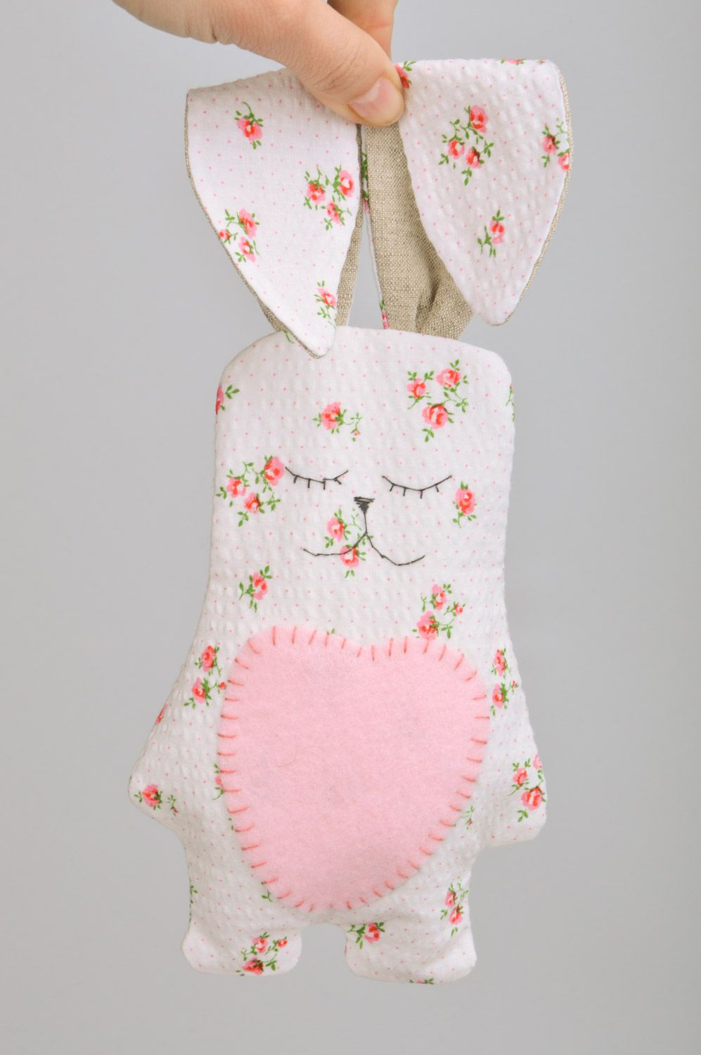 Handmade soft toy rabbit with long ears sewn of cotton fabric with floral print photo 3