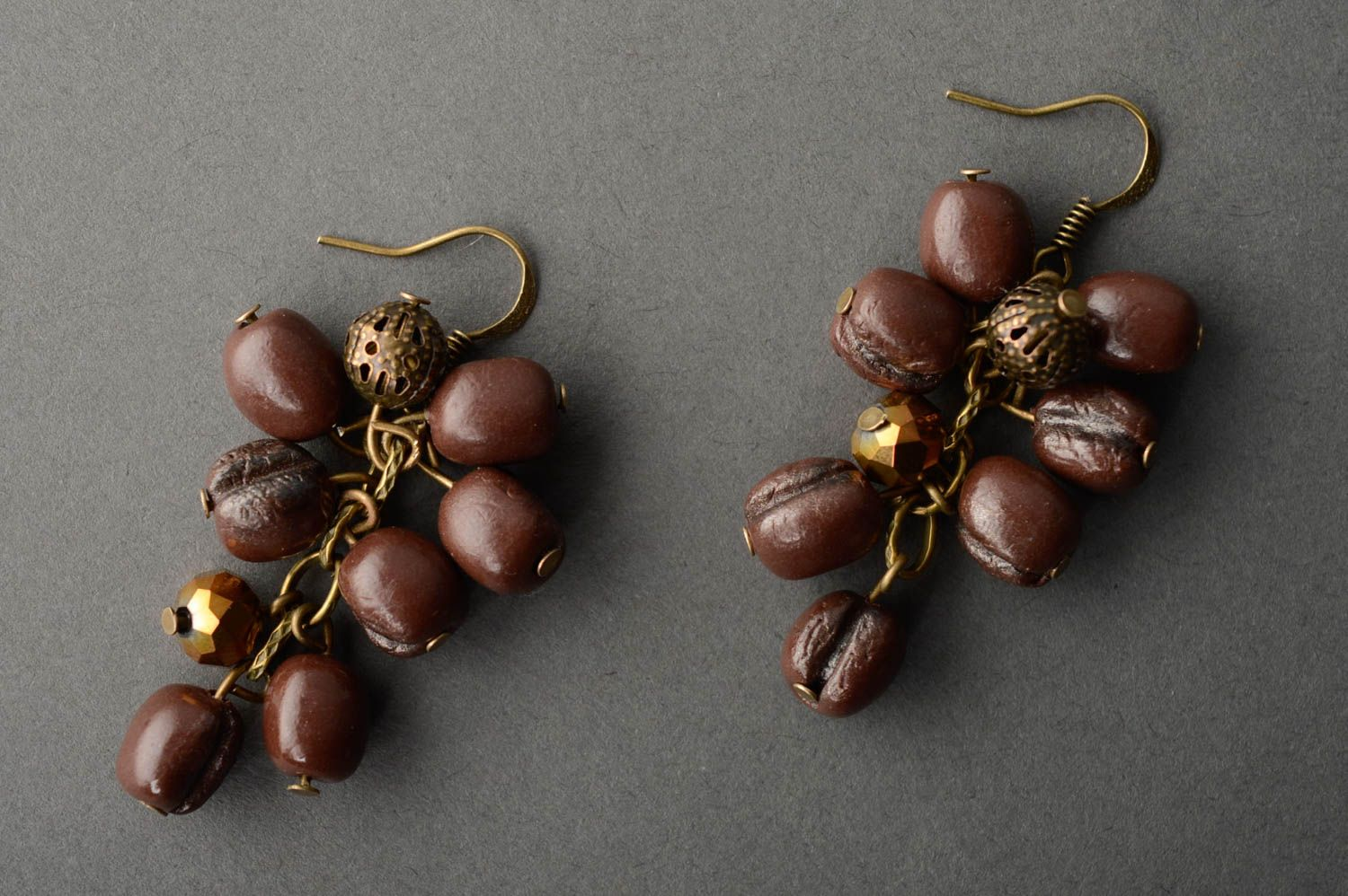 Polymer clay earrings Coffee Beans photo 2