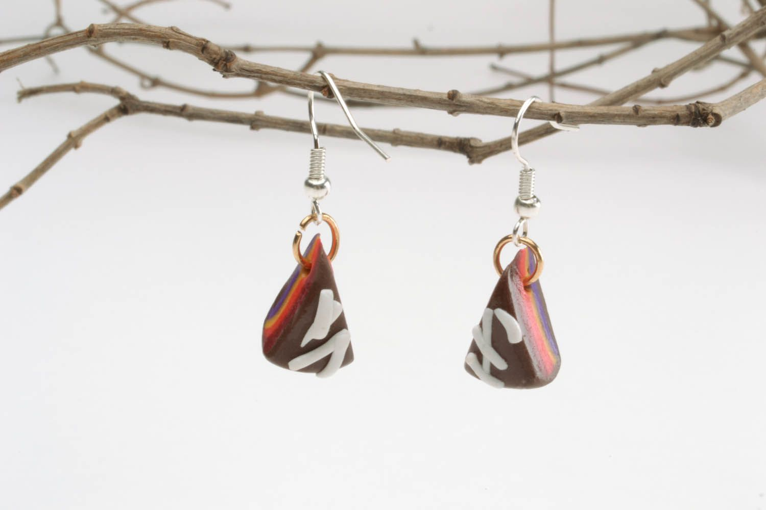 Polymer clay earrings in the shape of cakes photo 1