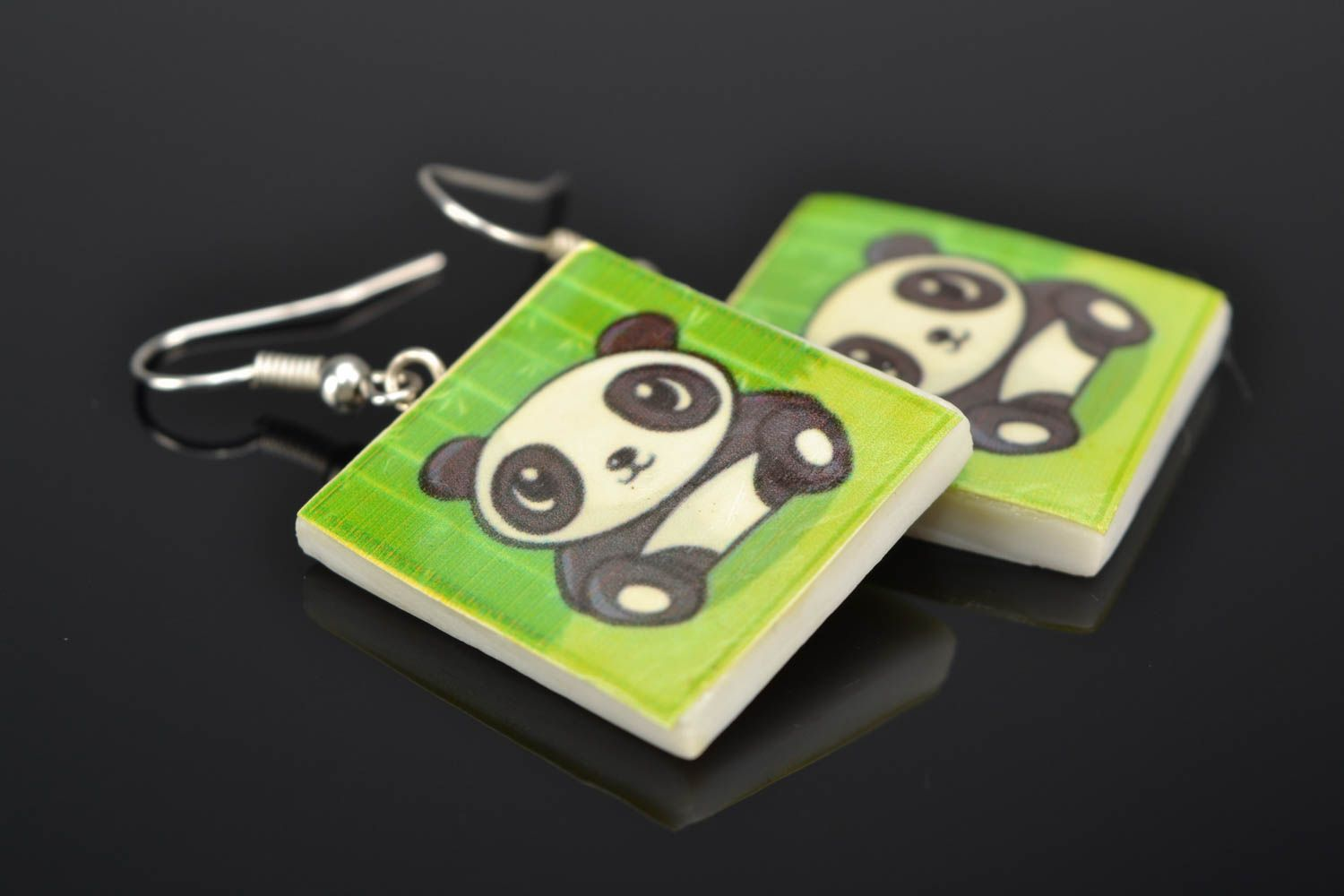 Polymer clay earrings with panda image photo 1