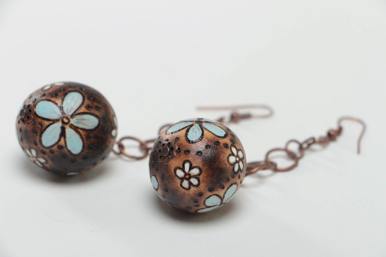 Handmade earrings wooden jewelry designer accessories ball earrings gift for her photo 3