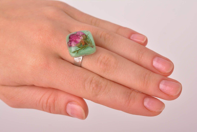 Handmade epoxy resin ring unusual feminine ring elegant jewelry for women photo 3