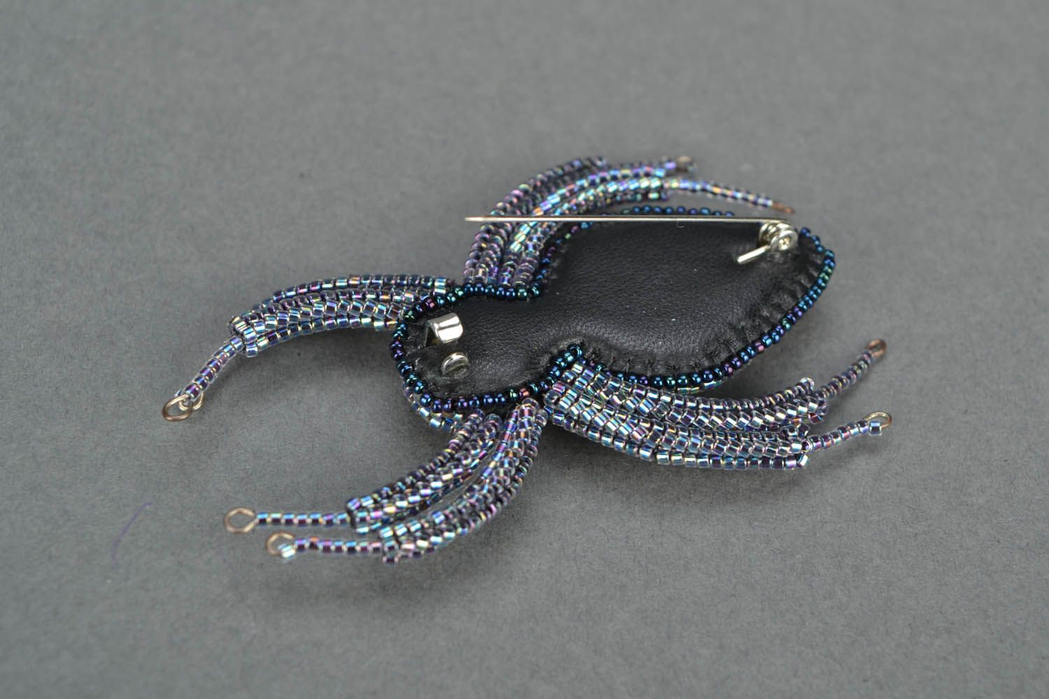 Brooch made of glass Spider photo 4