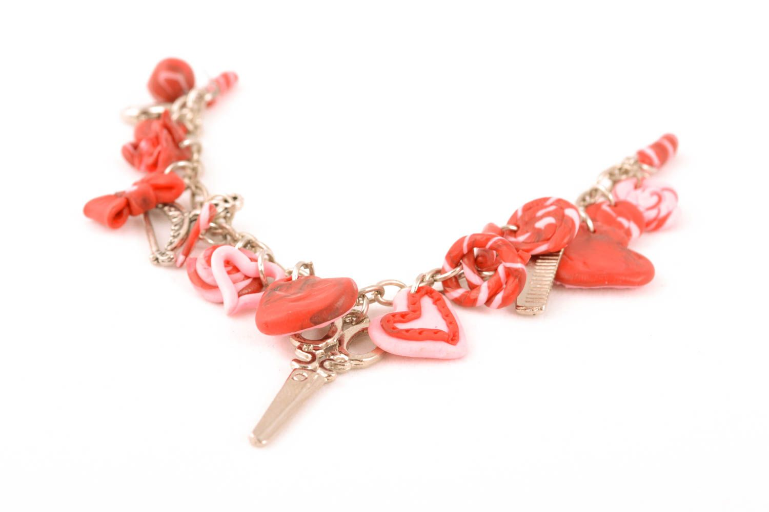 Polymer clay wrist bracelet St. Valentine's Day photo 1
