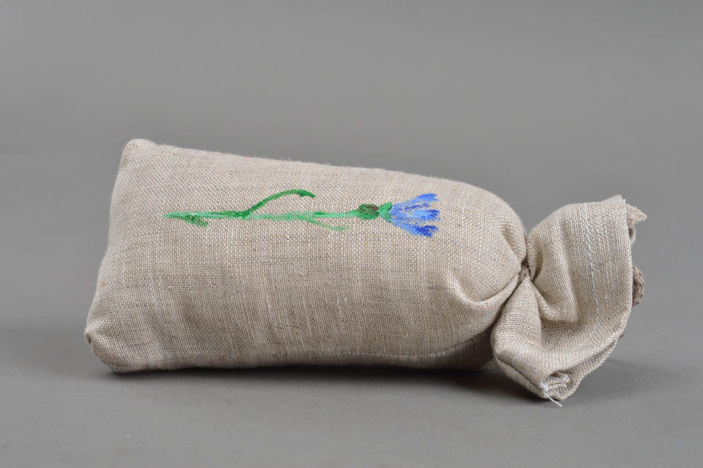Handmade cushion scented sachets natural linen fabric painted cornflower photo 3