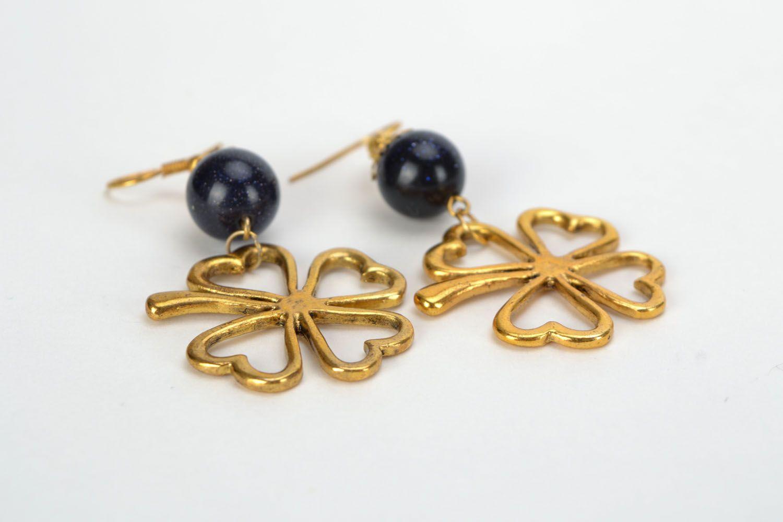 Earrings with aventurine Clover photo 5