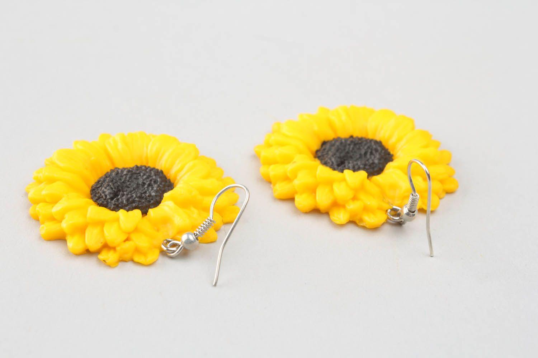 Polymer clay earrings Sunflowers photo 2