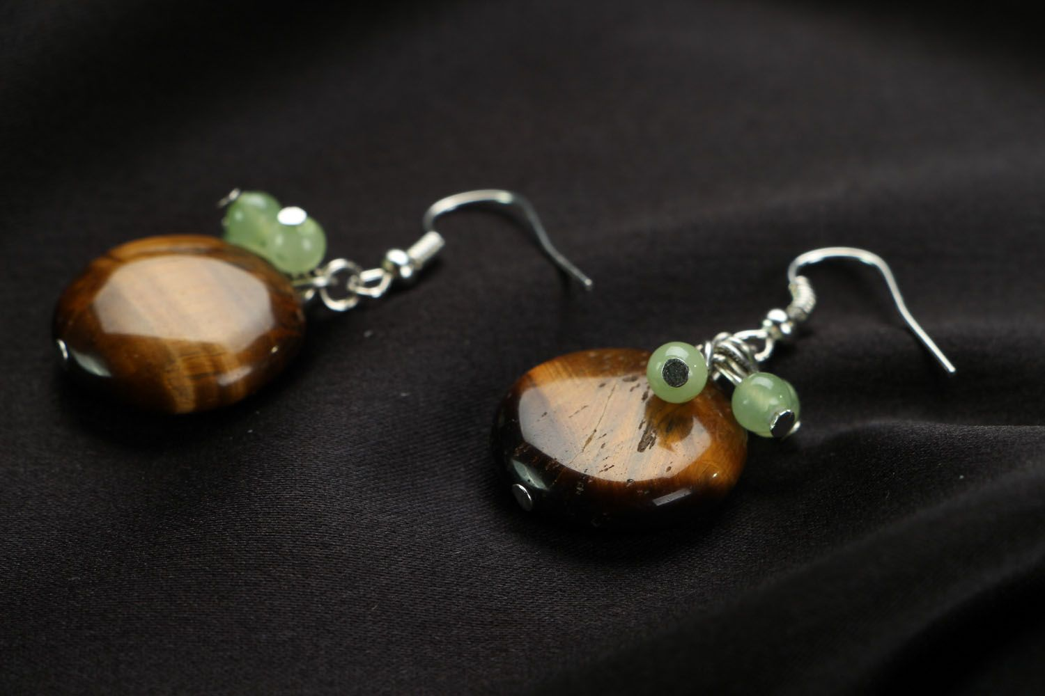 Earrings with chrysoprase and tiger's eye stones photo 2