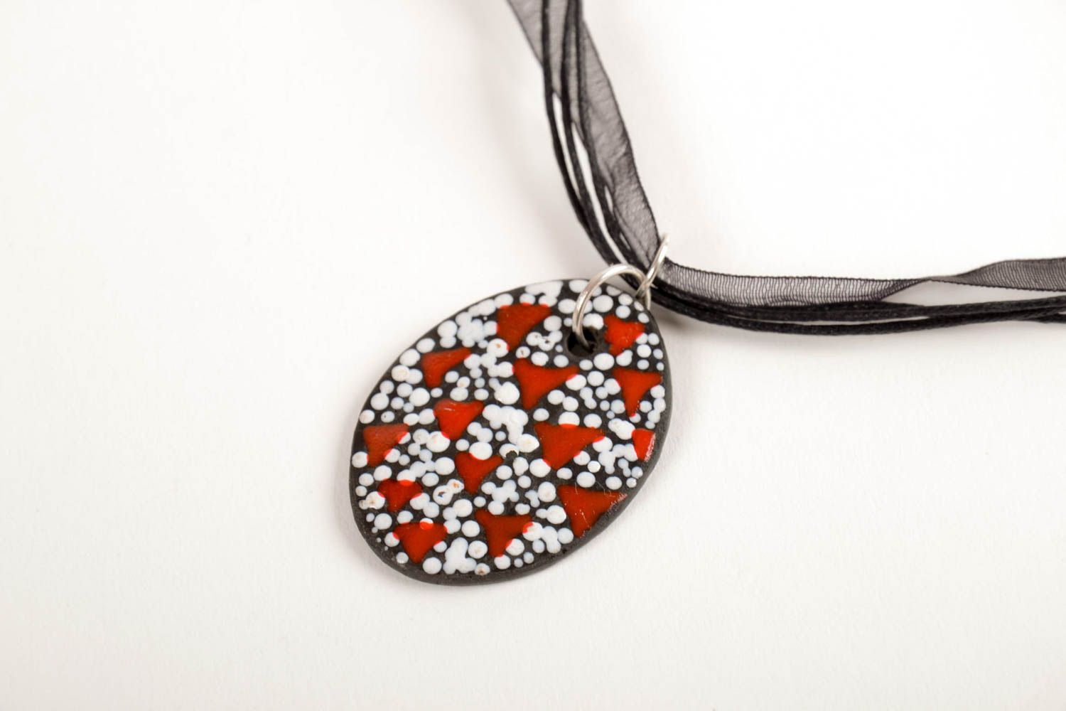 Handmade beautiful pendant unusual ceramic pendant elegant natural jewelry photo 4