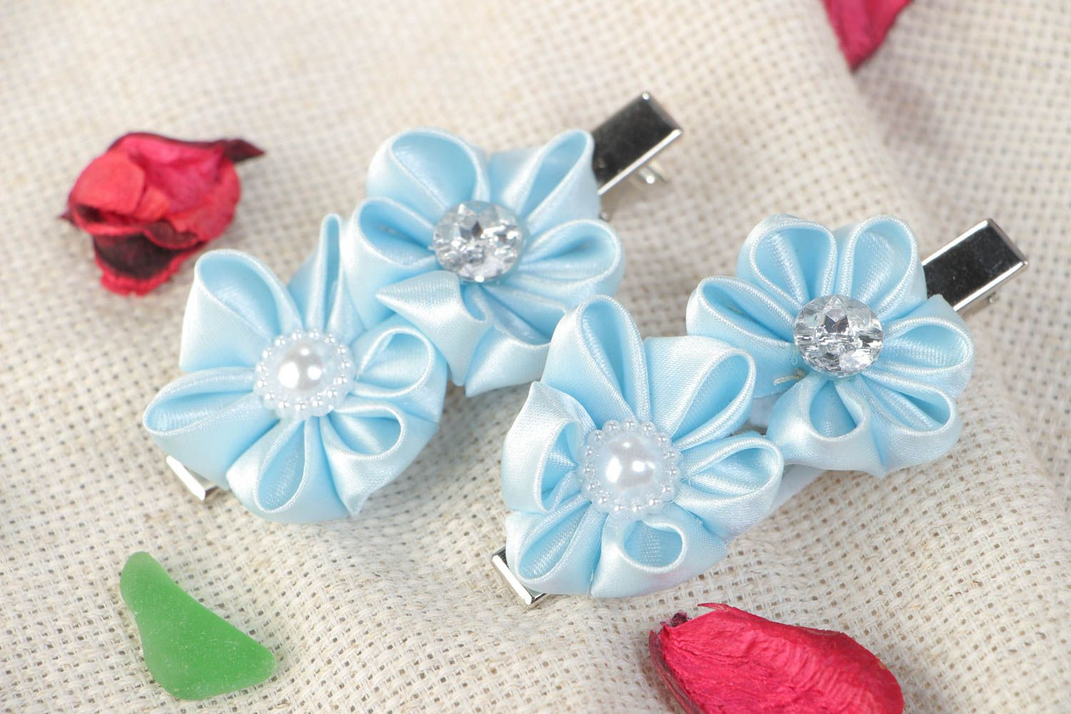 Set of 2 handmade hair clips with satin ribbon kanzashi flowers of blue color photo 1