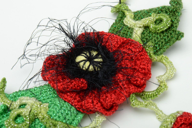Homemade women's crochet flower necklace photo 3