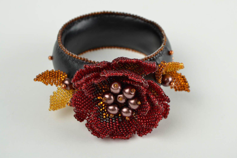 beaded bracelets Seed bead woven bracelet leather bracelet handmade flower bracelet for girls - MADEheart.com