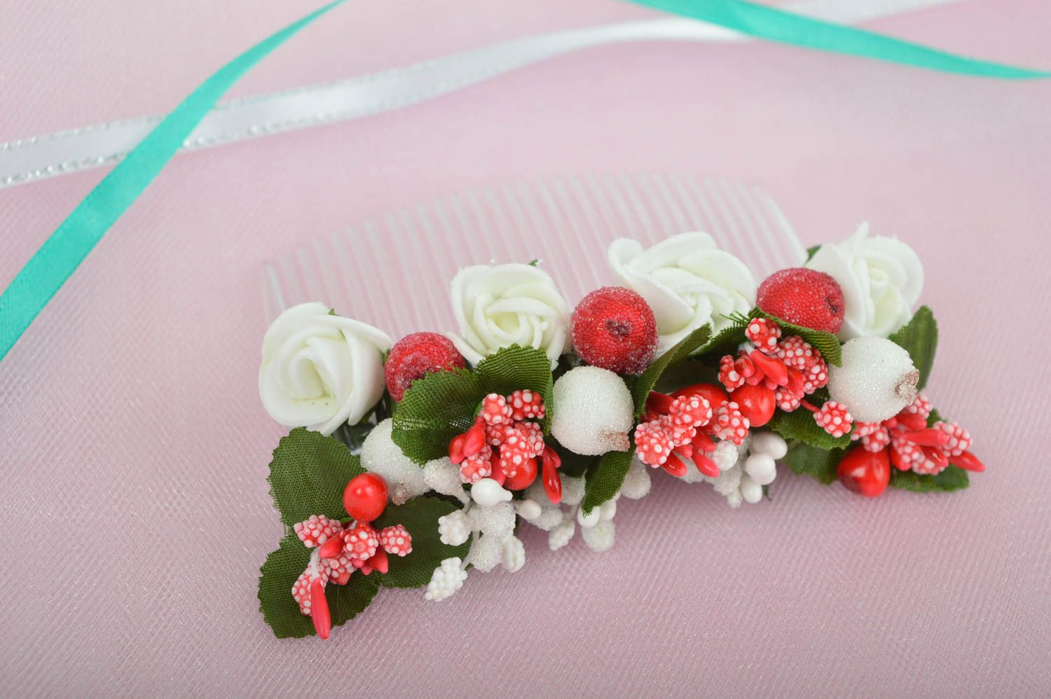Handmade hair comb flower comb for hair gift ideas designer hair accessory photo 1