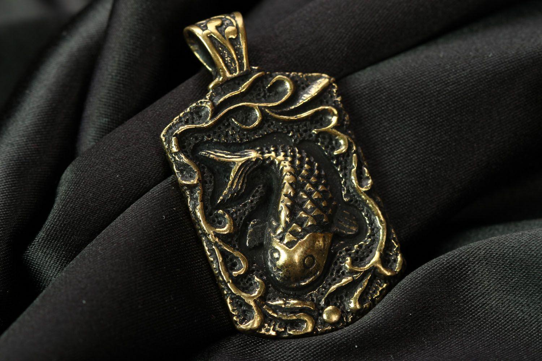 Handmade bronze pendant Fish  photo 1